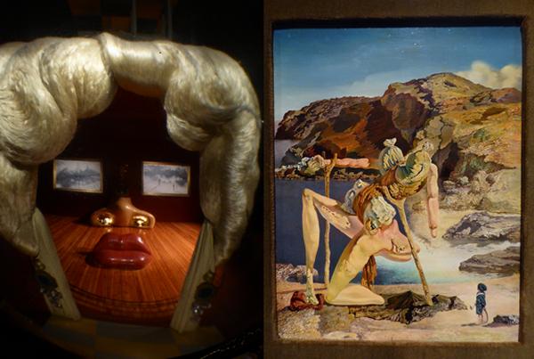 Dans la salle du Théâtre-Musée de Salvador Dali  Mae West, le sofa devient la bouche, les rideaux sont les cheveux, les deux tableaux forment les yeux. Le tout recompose le visage très fardé de cette star, sex-symbol de l'entre deux-guerres et parmi  plus de1500 œuvres on admire Le Spectre du sex-appeal, l'Autoportrait mou avec des lardons. Copyright Catherine Gary