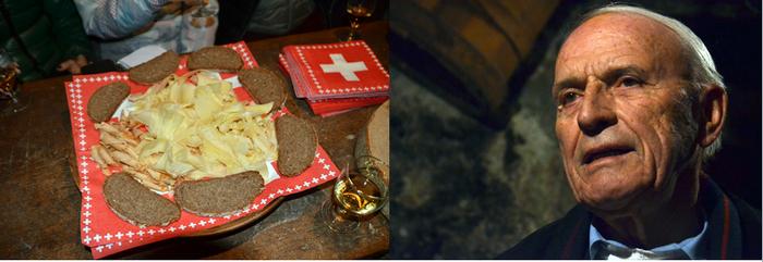 Le Valais est un pays où la gastronomie et la richesse des vins ont une grande place. A droite  photo d'une personnalité valaisanne :  André Melly. @  David Raynal