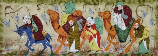 Miniature caravane Ouzbekistan.  Vestiges de l'époque dense de la Route de la Soie  les anciennes cités caravanières possèdent des trésors rendant compte de leur prospérité et des continuités artistiques qui ont perduré suite à ces échanges commerciaux et culturels.@ Wikipédia