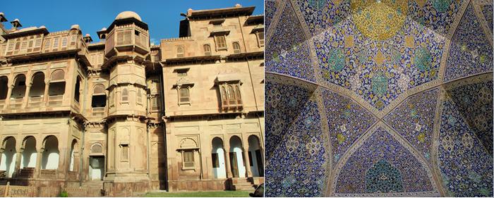 De gauche à droite : Jaisalmer (Inde) On la surnomme parfois « la ville jaune » à cause de son grès prenant des reflets jaunes à certaines heures de la journée; Kashan (Iran) doit son nom à la céramique « kashi » produite au Moyen-Âge.@ Pixabay