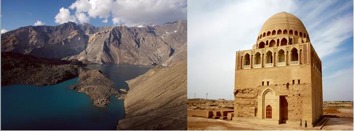 De gauche à droite : Les montagnes du massif du Pamir (Tadjikistan). Passage obligé pour les marchands venant des routes du sud ou du nord. @ Pixabay;  A Merv (Turkménistan) mausolée du Sultan Sandjar @ Pixabay