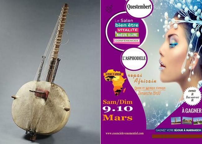 De gauche à droite :  La kora est l'instrument ouest-africain classique par excellence et se compose de vingt et une cordes.. À l'origine, la kora était réservée à la caste des griots, ces troubadours et gardiens de la tradition orale; @ DR; Affiche du 2ème Salon Essenciel de Questembert (Morbihan) @ DR