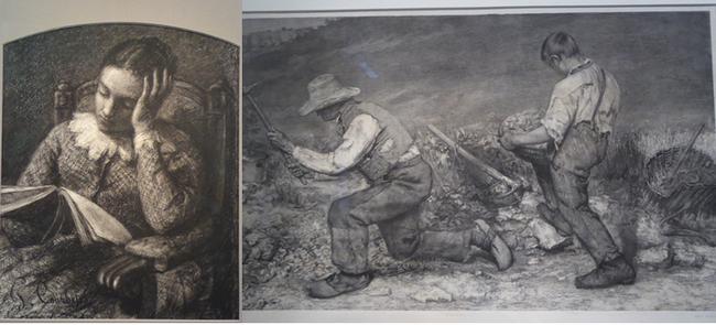 De gauche à droite : La lecture. Gustave Courbet. 1853. Fusain et estompe.@ C.Gary et Les Casseurs de pierre 1849 Dessin préparatoire au tableau. @ C.Gary