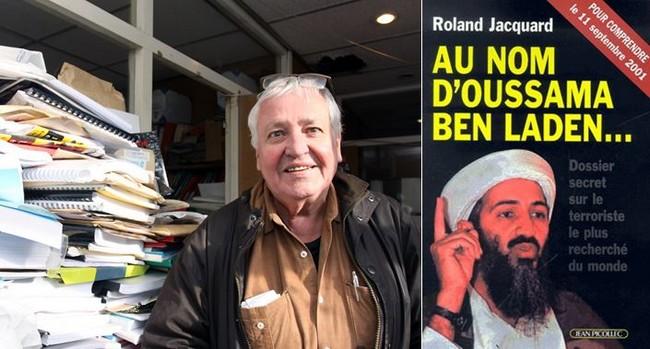 Jean Picollec et la couverture du livre  Au nom d'Oussama Ben Laden de Roland Jacquard. Ce livre est paru au moment où il faisait sauter tout New York. Il a été traduit en 29 langues. @ David Raynal