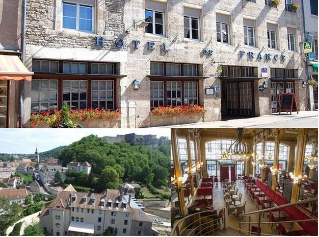 De gauche à droite : Hôtel de France à Ornans @ Hôtel de France; Vue d'ensemble de l'Hôtel La  Sauvage @www.hotel-lesauvage.com, La grande salle de La Brasserie du Commerce à Besançon. @ DR