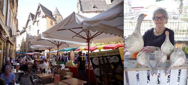 De gauche à droite : Place du Marché de Sarlat lors de la Fest'Oie . @ OT Sarlat;  La céramiste Annie Soret. @ C.Gary