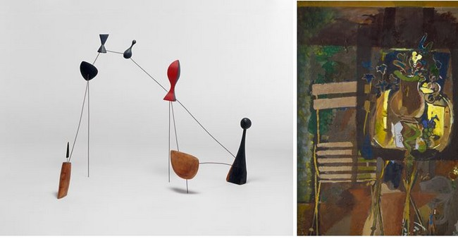 1/ 2 Expo Braque Constellation de Calder .ADAGP, Paris 2019j , 2/ Expo Braque Garden table.ADAGP, Paris 2019