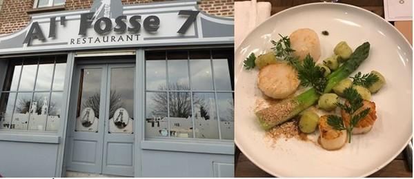 De gauche à droite : Resto Al'Fosse 7. @  C. Gary et  Photo d'un plat concocté par le chef du  Le Galibot, le restaurant-brasserie de l'Hôtel Louvre-Lens @ C.Gary