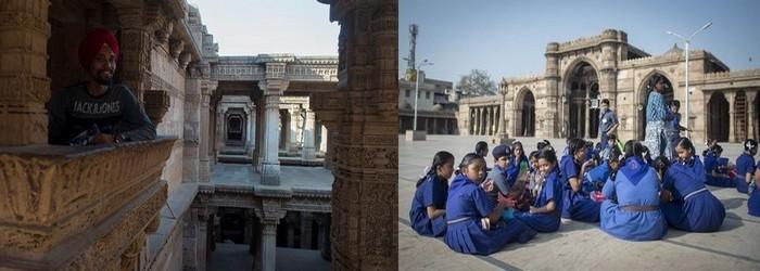 .De gauche à droite :Ahmedabad Puits à degrés et Ahmedabad Mosquée Jami Masrid,   ©Fabrice Dimier