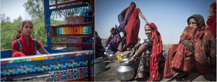 De gauche à droite :   Tissage Patola  et  Tribu Jat en provenance du désert du Kutch     ©Fabrice Dimier