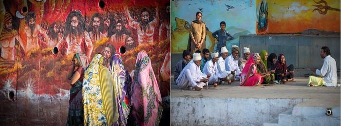 De gauche à droite :  Mont Girnar Denvanr les monastères  et Mont Girnar Sur les ghats d'un temple de Shiva       .©Fabrice Dimier