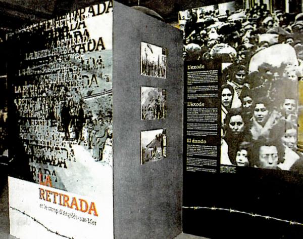Au Mémorial d'-  Au rez-de-chaussée, l'exposition permanente présente la guerre civile espagnole, la Retirada et la vie dans le camp d'Argelès-sur-Mer. @ argelès-sur-mer.com