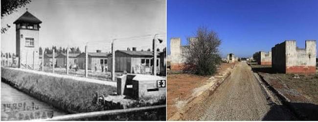 De gauche à droite : Photo d'archives du camp de Rivesaltes  avant et  photo des vestiges aujourd'hui.  @ wikipedia