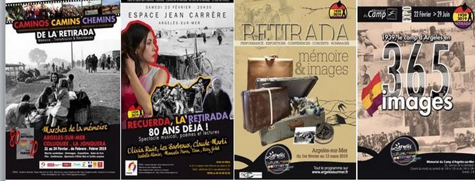 """Affiches pour l'anniversaire des 80 années de la """"Retirada"""" @ Argelès-sur-Mer.com"""