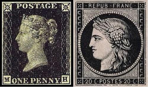 De gauche à droite : En six mois le « black penny »  à l'effigie de la Reine Victoria est émis à  près de 72 millions d'exemplaires.;  Le « Cérès noir » à 20 centimes emprunte l'image de la déesse antique de l'agriculture, de la fécondité et des moissons.@DR