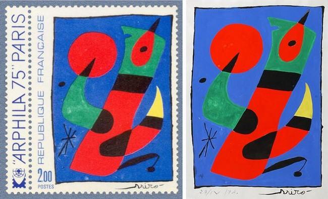 En moyenne, un nouveau timbre est émis chaque semaine.  Phil@poste assure ensuite l'émission du programme philatélique. Ici un timbre  signé du peintre Miro. @ DR