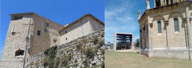 De gauche à droite :. Couvent des Récollets Forcalquier- @ DR. La chapelle Notre-Dame de Provence datant de 1875 et située à l'ancien emplacement de la citadelle. Au fond, le carillon- @ DR