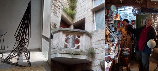 1/Oeuvre de Christophe Masson dans son atelier  situé dans l'ancienne caserne des pompiers- @ F.Surcouf 2/ Hôtel d'Astier @ F.Surcouf. 3/ Isabelle Martin dans son atelier- @ F. Surcouf