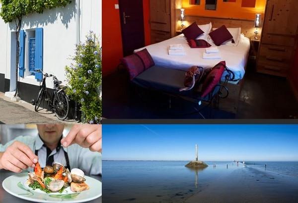 Jolies maisons,hôtel *** à l'Hôtel de la Chaize,, repas de crustacés  chez Freddy Ouvrard et mer bleueau passage de Gois. @ C. Gary et Hôtel de La Chaize.