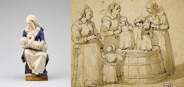 De gauche à droite : La nourrice – Ecouen, musée national de la Renaissance © RMN et Jan Philipsz. van Bouckhorst, Les Nourrices © C. Camus