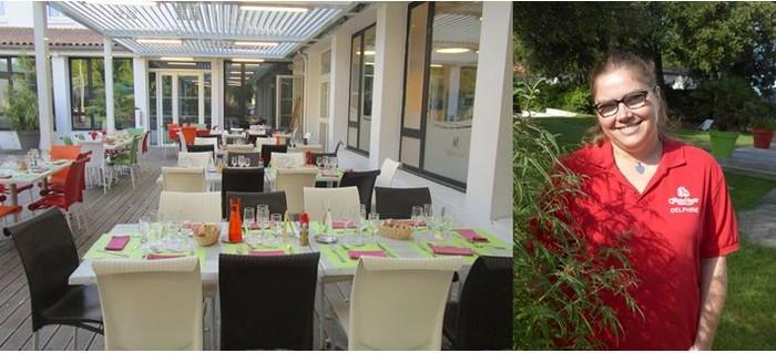 La salle de restaurant très conviviale des 4 Vents à Noirmoutier et  Delphine, légèrement handicapée, qui a trouvé sa voie, et ce depuis 21 ans, au service de ce restaurant. @ 4 Vents