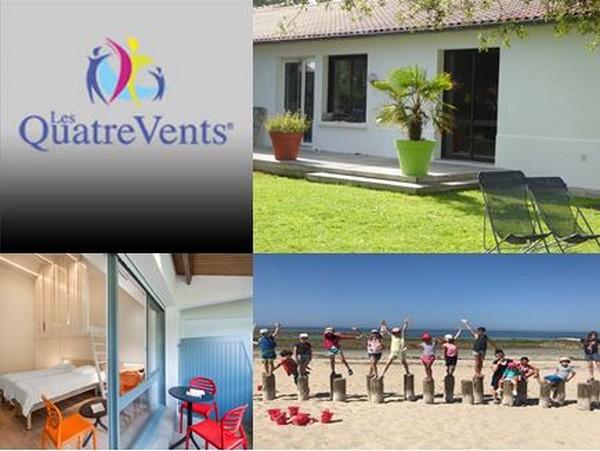 Des petites maisons individuelles très accueillantes aux 4 Vents Noirmoutier, @ C.Gary; Les chambres, et le club junior en pleine activité sur la plage. @4 Vents