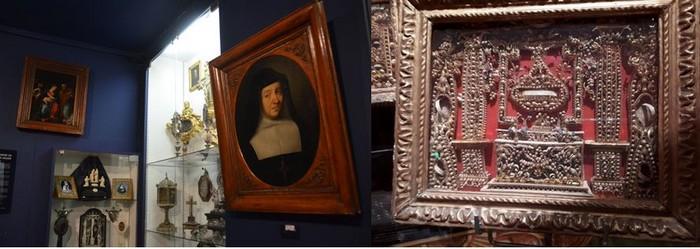 De gauche à droite : Musée de la Visitation et ses nombreuses reliques, à droite un tableau réalisé à partir de papiers roulés. @ Luc Olivier CDT