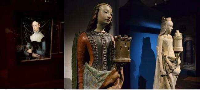 De gauche à droite : Musée anne de Beaujeu femme à l'eillet MNR musées nationaux ; Sainte Madeleine; @ David Raynal
