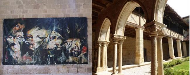 De gauche à droite : Exposition Jean-Paul Chambas à l'abbaye de Flaran. @ C. Gary et Le cloître de l'abbaye de Flaran ou expose l'artiste. @ C.Gary