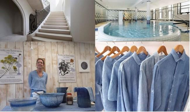 L'escalier majestueux de l'Hôtel des Doctrinaires, @ DR; La piscine des Thermes de Lectoure.@ DR; Boutique-atelierBleu de Lectoure @C.Gary et les chemises teintes au pastel. Bleu de Lectoure. @C. Gary