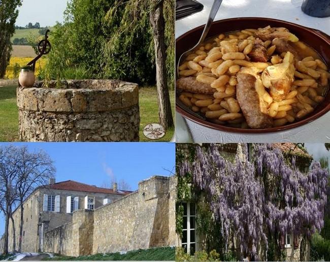 Le jardin de la Ferme Terre Blanche. @ DR; Cassoulet plat emblématique ! @ Stéphanie Lemasson ; Le Château Montluc à St-Puy. @ DR et les  Jardins de Coursiana.. @ DR