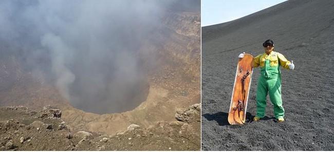 Masaya, accessible jusqu'à son cratère dans les vapeurs sulfureuses ou le lunaire Cerro Negro dont les cendres charbonneuses se prêtent aux intrépides sandsurfers. @ C.G.
