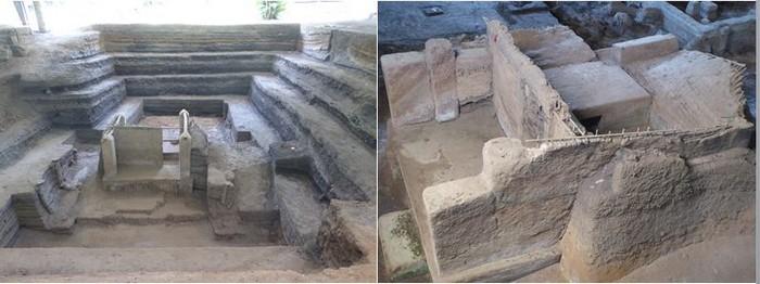 """De gauche à droite :  Joya de Céren. Unesco. La """"Pompéi d'Amérique"""" @ C.G. et. Joya de Céren. Unesco. Des maisons mayas découvertes  sous les cendres. @C.G."""
