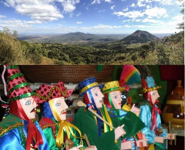 La chaîne des volcans au Nicaragua et poupées en costumes traditionnels. @ Lindigomag/Pixabay