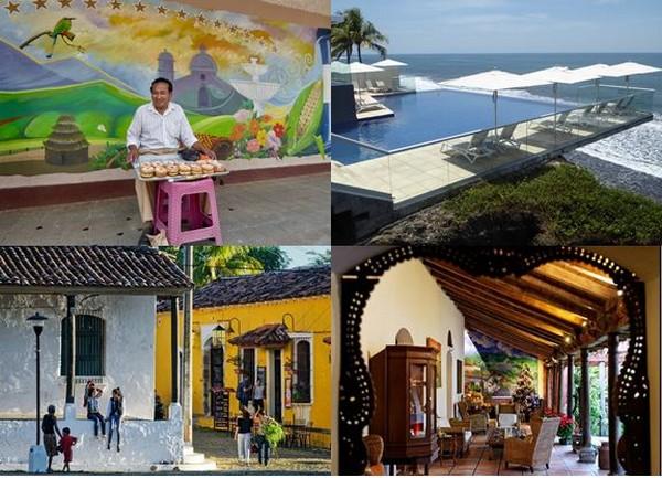 En haut de gauche à droite : Marché matinal à Nahuizalco  et .l'hôtel Acantilados sur la côte Pacifique  @C.G.. en bas de gauche à droite :   Village de Suchitoto et l' Hôtel Los Almendros à Suchitoto @ DR