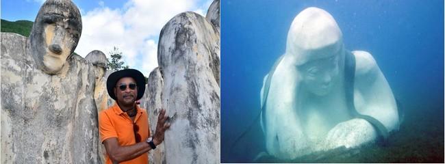 Laurent Valère  est aussi l'auteur de l'imposante sculpture sous-marine immergée intitulée « Manmandlo » dans la baie de Saint-Pierre. Crédit photo David Raynal et D.R.