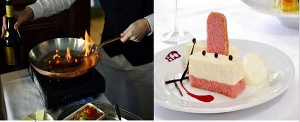 Faux-filet de bœuf au poivre flambé au Cognac. ©Alexandre Marchi et le « champagnisssimo » aux biscuits roses  ©Alexandre Marchi