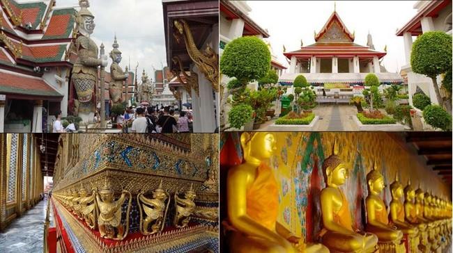 En haut et bas de gauche à droite : le Temple du Bouddha d'Emeraude et le  Wat Pho.@ FS et DR