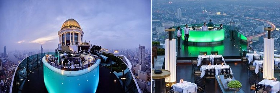 Le Sky Bar et pour le côté romantique le restaurant Sirocco... Une vue à 360° sur Bangkok. @ Lebua