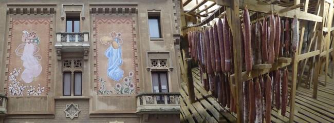 De gauche à droite : Promenade dans la vieille ville de Vic; C.Gary; A  Vic toujours, séchoir sur 3 étages de saucissons à la Casa Riera Ordeix @ C.Gary