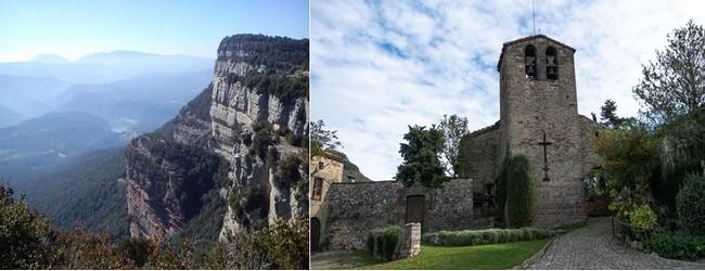 De gauche à droite :  De chaque côté, la rivière a creusé son lit sinueux entre les hautes falaises et la suite des canyons.@ OT Osona  et l'église romane de Tavertet. OT Osona