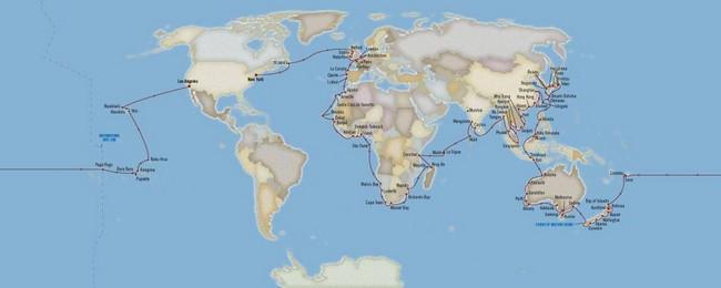 """Parmi les plus beaux navires ayant pris la mer dernièrement signalons un tour du monde en 180 jours à bord de """"l'Insignia"""" qui a embarqué d'heureux mortels vers 38 pays, sur 18 mers et 95 destinations. @ Carte Oceania Cruises"""