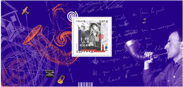 Le 9 mars 2020, La Poste émet un timbre à l'effigie de Boris Vian à l'occasion du centenaire de sa naissance. @ DR