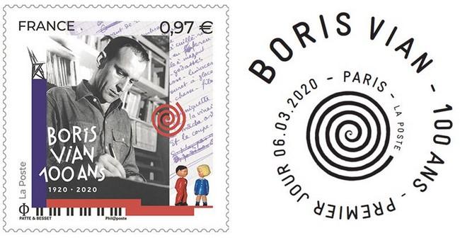 Le 9 mars 2020, La Poste émet un timbre à l'effigie de Boris Vian à l'occasion du centenaire de sa naissance.@ DR