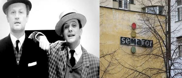 De gauche à droite : Jiří Šlitr et  son comparse et alter ego à la scène Jiří Suchý. @ DR. De nos jours, le théâtre Semafor à Prague existe toujours et un spectacle  rétrospectif a été donné pour le 60e anniversaire de sa création en 2019 @ D.R.