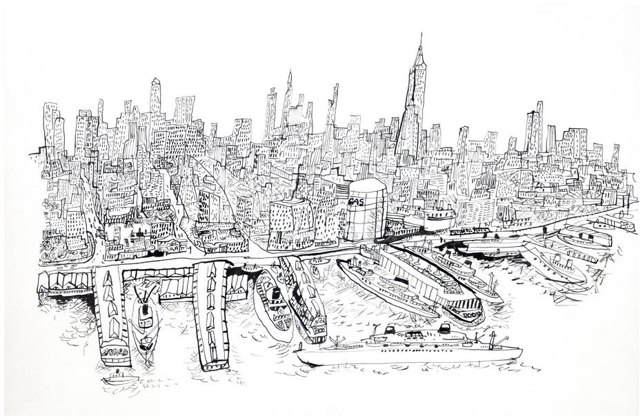 Dessin de Jiří Šlitr, qui faisait partie de l'exposition qui lui était consacrée au Centre Chèque de Paris et  annulée pour cause de Coronavirus.Ici la vision de l'artiste sur Manhattan à New York @ expo Jiří Šlitr - Photo David Raynal