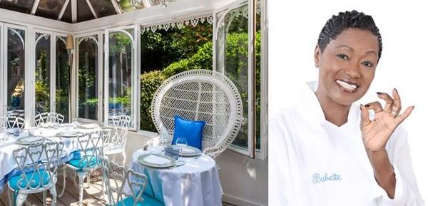 """Le charme du restaurant """"La Case de Babette"""" et le plaisir de déjeuner ou dîner à côté du somptueux jardin.@ M.Destombes -Pixabay; Portrait de la sémillante Babette de Rozières. @ DR"""