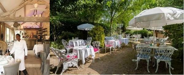 """Babette de Rozières dans son restaurant """"la Case de Babette"""" à Maule (78) avant d'accueillir ses clients dans ses jardins somptueux. @ DR et La Fourchette"""