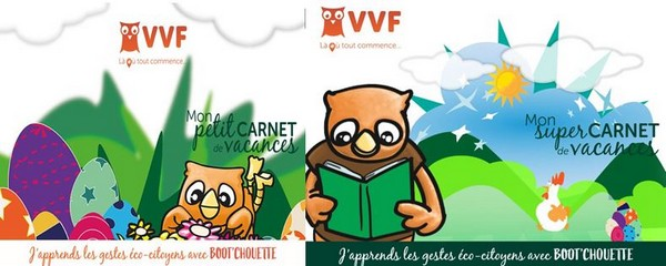 De gauche à droite :  page de garde Boot Chouette 3-6 ans et page de garde Boot Chouette 7 -10 ans. @ Virtual VVF
