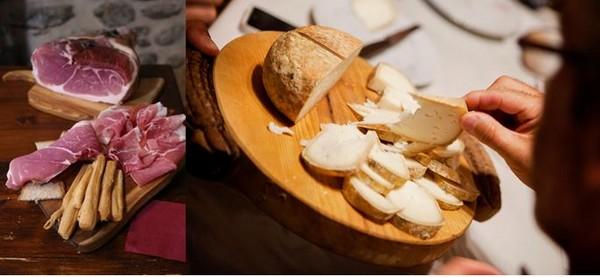 de gauche à droite : VALLE D'AOSTA-Jambon de Bosses DOP (foto Enrico Romanzi)- et dégustation de fromagei (foto Mattia Paladini)